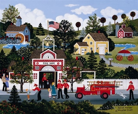 """Jane Wooster Scott Handsigned and Numbered Limited Edition Serigraph on Paper:""""LOCAL HEROES """""""