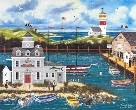"""Jane Wooster Scott Handsigned and Numbered Limited Edition Serigraph on Paper:""""PEACEFUL HARBOR - REMARQUE"""""""