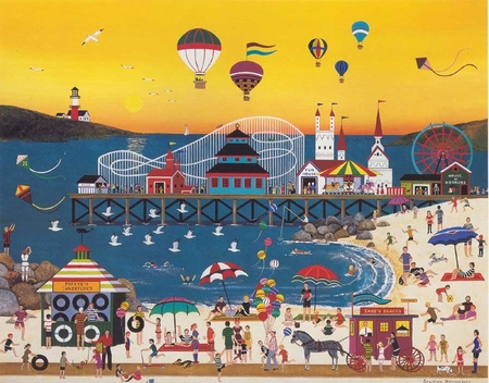 "Jane Wooster Scott Handsigned and Numbered Limited Edition Serigraph on Paper:""SEASHORE SHENANIGANS"""