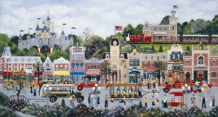 "Jane Wooster Scott Handsigned and Numbered Limited Edition Serigraph on Paper:""Summertime - Main Street, U.S.A"""