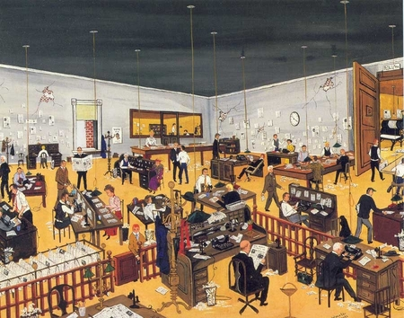 "Jane Wooster Scott Handsigned and Numbered Limited Edition Serigraph on Paper:""THE NEWS ROOM - ORIGINAL ETCHING"""
