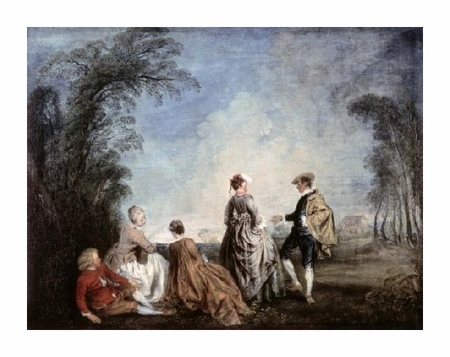 "Jean-Antoine Watteau Fine Art Open Edition Giclée:""An Embarrassing Proposition"""