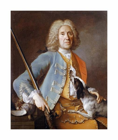 "Jean-Baptiste Oudry Fine Art Open Edition Giclée:""Sportsman Holding a Gun with a Hound"""