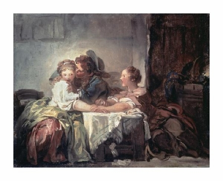 "Jean Honore Fragonard Fine Art Open Edition Giclée:""The Captured Kiss"""