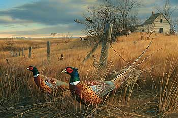 "Jim Hautman Hand Signed and Numbered Artist Proof  Limited Edition Print: ""Memory Lane-Pheasants"""