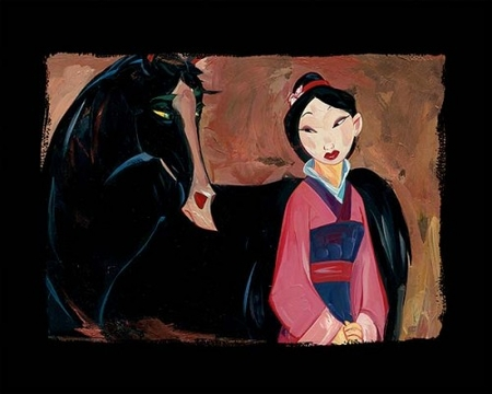 "Jim Salvati Artist Signed Limited Edition Hand-Printed Chiarograph on Paper:""Mulan and Kahn"""