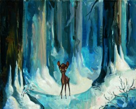 "Jim Salvati Handsigned and Numbered Limited Edition Canvas Giclee: ""Alone in the Woods"""
