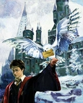 """Jim Salvati Harry Potter Canvas Giclee Artist Proof Co-Signed By Daniel Radcliffe:""""Harry & Hedwig"""""""