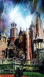 """Jim Salvati Signed and Numbered Hand-Embellished Giclée on Canvas: """"Walt Disney World - Haunted Mansion - Ghoulish Delight"""""""