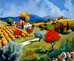 "Joanny Handsigned and Numbered Limited Edition Serigraph on Canvas:""Pear Trees in the Fall"""