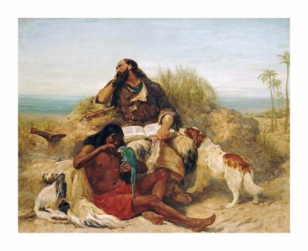 "John Charles Dollman Fine Art Open Edition Giclée:""Robinson Crusoe and His Man Friday"""