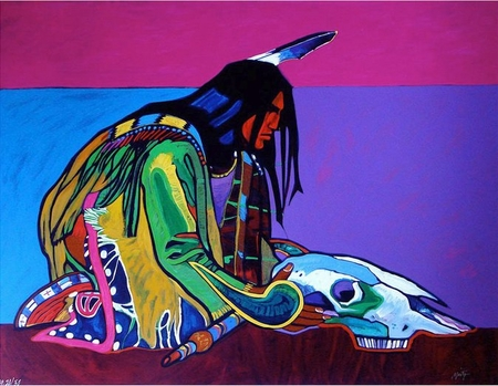 """John Neito Limited Edition Serigraph on Paper:"""" Prayer for the Return of the Buffalo"""""""