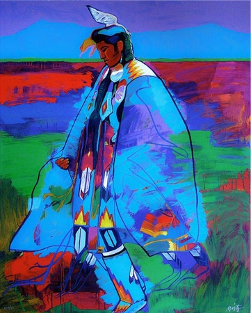 """John Neito Limited Edition Serigraph on Paper:""""Dancer at Taos Pueblo"""""""