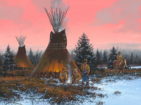 "John Paul Strain Hand Signed and Numbered Limited Edition Giclee:""By the Fire's Glow"""
