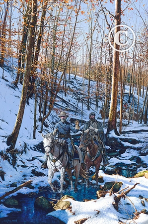 "John Paul Strain Hand Signed and Numbered Limited Edition Giclee:""Winter Shadows of 1862"""