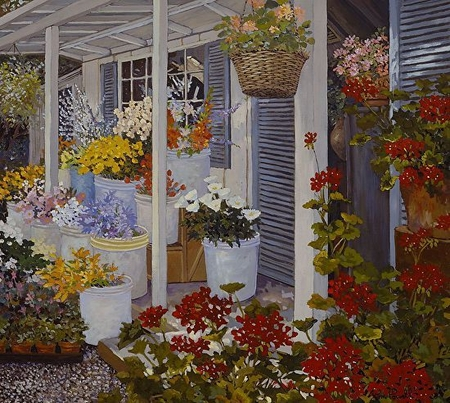 """John Powell Hand Signed and Numbered Limited Edition Serigraph on Paper:""""Country Flowers"""""""
