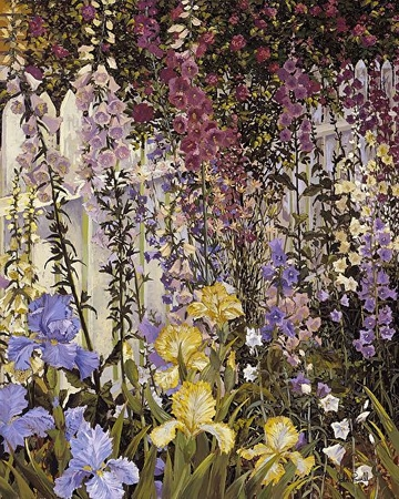 "John Powell Hand Signed and Numbered Limited Edition Serigraph on Paper:""Foxgloves and Iris"""