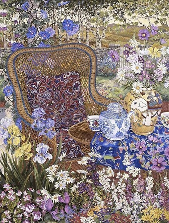 """John Powell Hand Signed and Numbered Limited Edition Serigraph on Paper:""""Garden Party"""""""