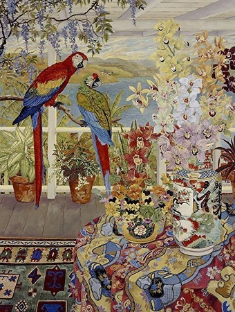"John Powell Hand Signed and Numbered Limited Edition Serigraph on Paper:""Parrots on the Veranda"""