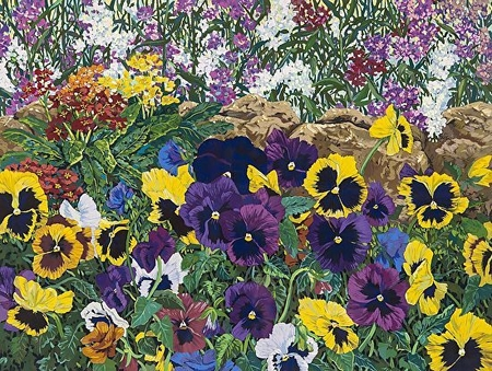 "John Powell Hand Signed and Numbered Limited Edition Serigraph on Paper:""Purple Pansies"""