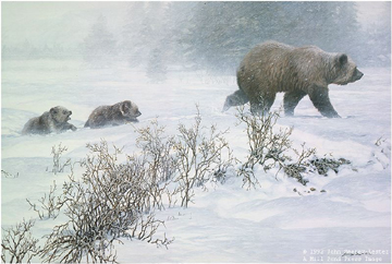 "John Seerey – Lester Limited Edition Print:""Keeping Pace-Grizzly With Cubs"""