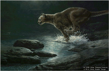 "John Seerey – Lester Limited Edition Print:""Moonlight Chase - Cougar"""