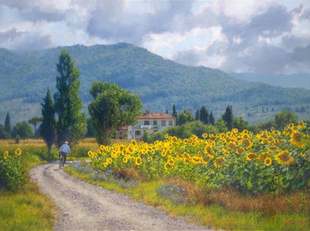 "June Carey Handsigned and Numbered Limited Edition Giclée:""My Girasoli"""