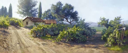 "June Carey Handsigned and Numbered Limited Edition Print:""Monterey Vineyard """