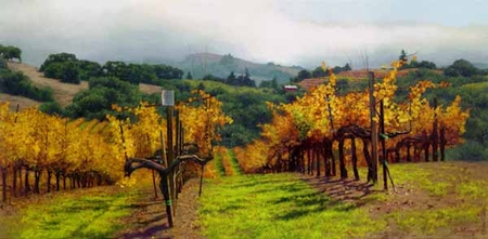 "June Carey Limited Edition Print:""Fall Vineyard """