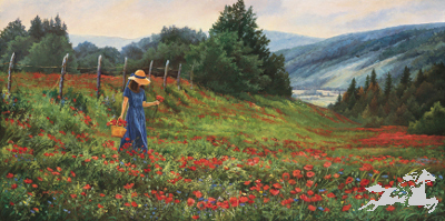 "June Dudley Signed Canvas Edition:""Knee Deep In Poppies"""
