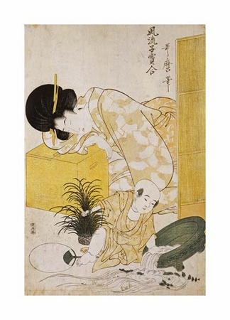 "Kitagawa Utamaro Fine Art Open Edition Giclée:""A Mother Dozing While Her Child Topples a Fish Bowl"""