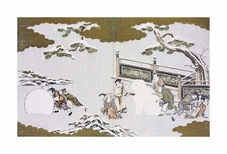 "Kitagawa Utamaro Fine Art Open Edition Giclée:""Children Making a Snow Shishi"""
