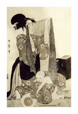 "Kitagawa Utamaro Fine Art Open Edition Giclée:""Mother and Child"""