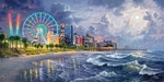 "Abraham Hunter Hand Signed and Numbered Limited Edition Embellished Canvas Giclee:""The Grand Strand - Myrtle Beach"""