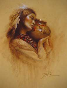 "Lee Bogle Handsigned and Numbered Limited Edition Canvas Giclee: ""Maiden with Pot"""