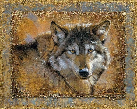 "Lee Kromschroeder Open Edition Wrapped Canvas: ""Crystals & Gold-Wolf """