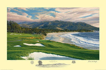 "Linda Hartrough Handsigned and Numbered Limited Edition:""2010 US Open, Pebble Beach 9th Hole """