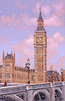 "Liudmila Kondakova Handsigned and Numbered Limited Edition Hand-Crafted Stone Lithograph: ""Big Ben"""