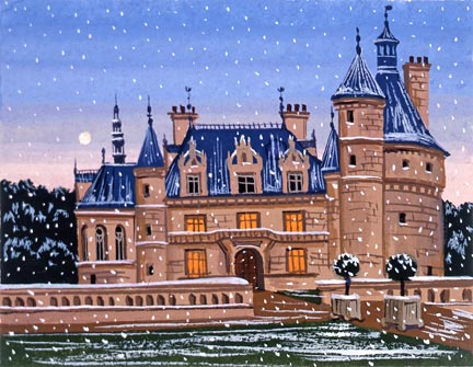 "Liudmila Kondakova Handsigned and Numbered Limited Edition Hand-Crafted Stone Lithograph: ""Chateau de la Loire"""