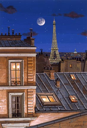 "Liudmila Kondakova Handsigned and Numbered Limited Edition Hand-Crafted Stone Lithograph: ""Eiffel Tower at Midnight"""
