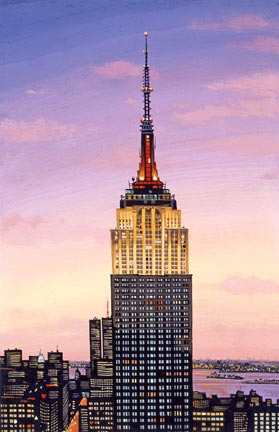 "Liudmila Kondakova Handsigned and Numbered Limited Edition Hand-Crafted Stone Lithograph: ""Empire State Building"""