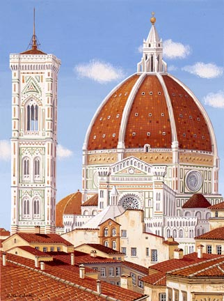 "Liudmila Kondakova Handsigned and Numbered Limited Edition Hand-Crafted Stone Lithograph: ""Firenze"""
