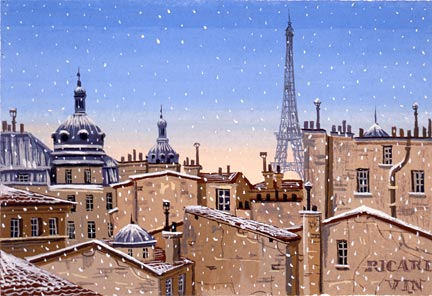 "Liudmila Kondakova Handsigned and Numbered Limited Edition Hand-Crafted Stone Lithograph: ""Snow Fall in Paris"""