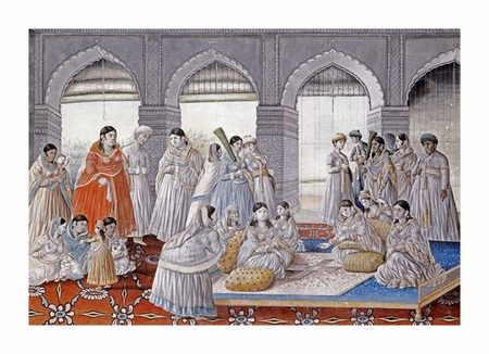 "Lucknow School Fine Art Open Edition Giclée:""The Royal Harem Playing Pachisi in a Lucknow Palace"""