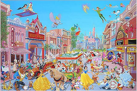 "Manuel Hernandez Signed and Numbered Giclée on Paper :""Disneyland - The Happiest Street on Earth"""