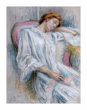 "Marie Louise Catherine Breslau Fine Art Open Edition Giclée:""A Young Woman Asleep in a Chair"""