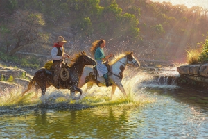 "Mark Keathley Hand Signed and Numbered Limited Edition Embellished Canvas Giclee:""Companions"""