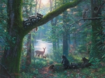 """Mark Keathley Hand Signed and Numbered Limited Edition Embellished Canvas Giclee:""""Moonlit Encounters"""""""