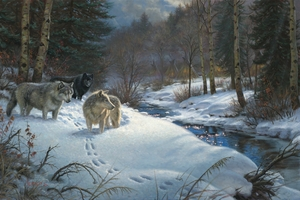 "Mark Keathley Hand Signed and Numbered Limited Edition Embellished Canvas Giclee:""Valley of Shadows"""