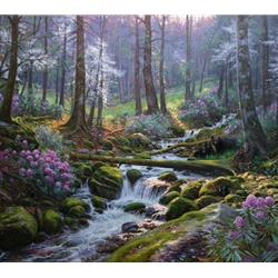 "Mark Keathley Handsigned and Numbered Limited Edition Hand Embelished Canvas Giclee:""Nature's Harmony"""